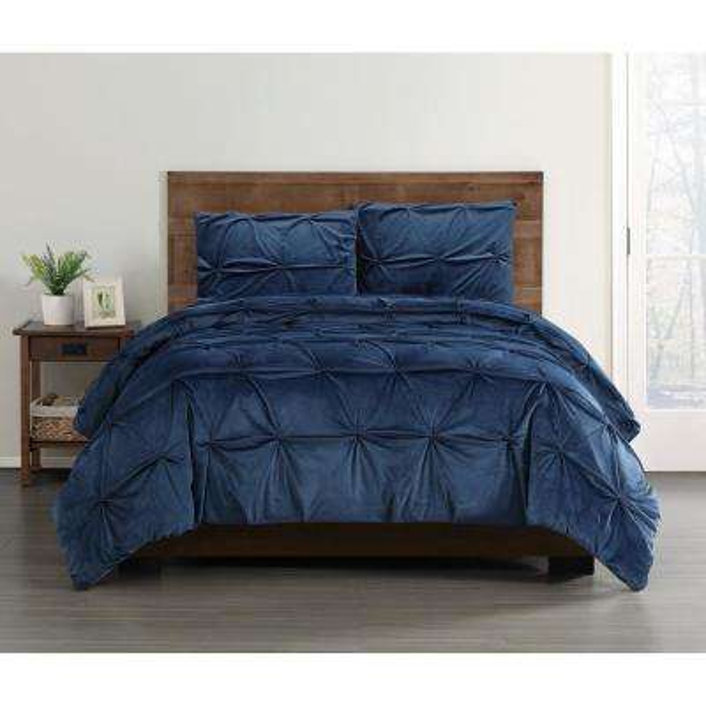 Everyday Pleated Velvet Navy King Comforter Set