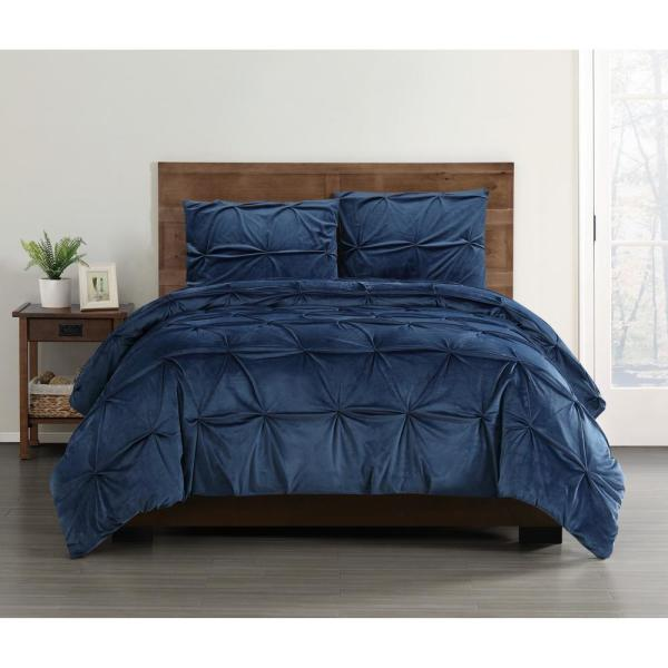 5100a2e0bd200 Truly Soft Everyday Pleated Velvet Navy King Comforter Set ...