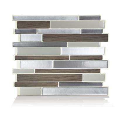 Milano Argento Grey 11.55 in. W x 9.63 in. H Peel and Stick Self-Adhesive Mosaic Wall Tile Backsplash (6-Pack)