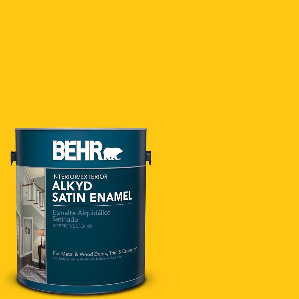 1 gal. #P300-7 Unmellow Yellow Satin Enamel Alkyd Interior/Exterior Paint