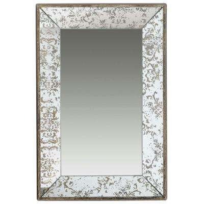 24 in. x 15 in. Decorative Mirror Tray in Rustic Brown