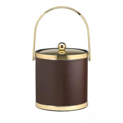 Sophisticates 3 Qt. Brown and Polished Brass Ice Bucket with Track Handle and Metal Cover