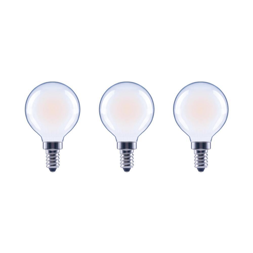 40-Watt Equivalent G16.5 Dimmable ENERGY STAR Frosted Glass Filament Vintage Edison LED Light Bulb Bright White (3-Pack)