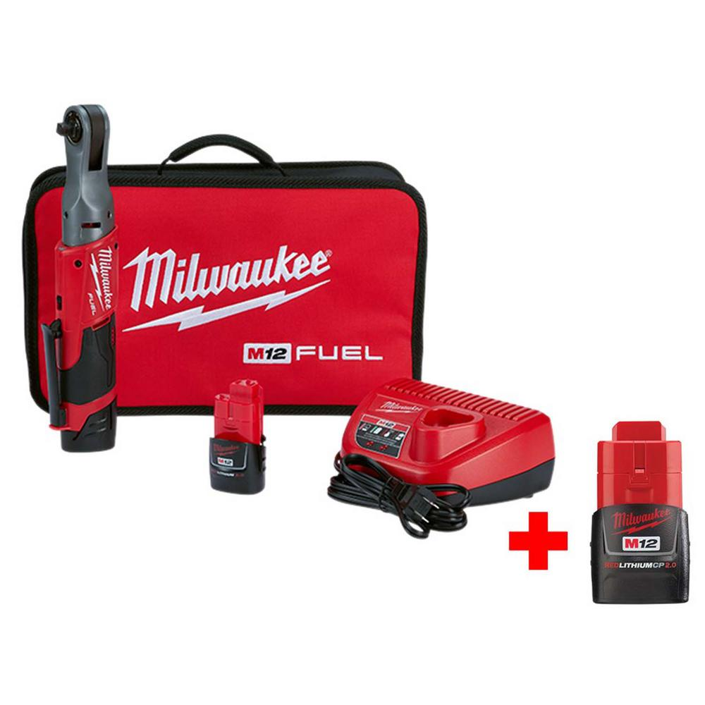Milwaukee M12 FUEL 12-Volt Lithium-Ion Brushless Cordless 3/8 in. Ratchet Kit With Free M12 2.0Ah Battery