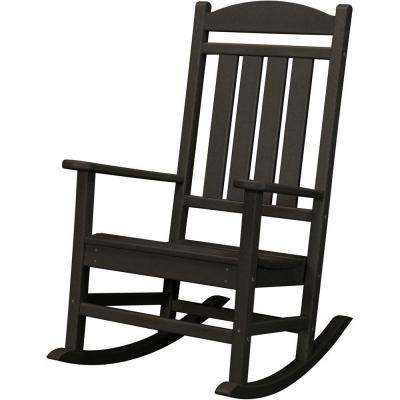 Black All-Weather Pineapple Cay Patio Porch Rocker