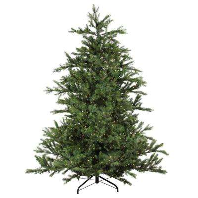 90 in. Pre-Lit Oregon Noble Fir Artificial Christmas - Warm White LED Lights