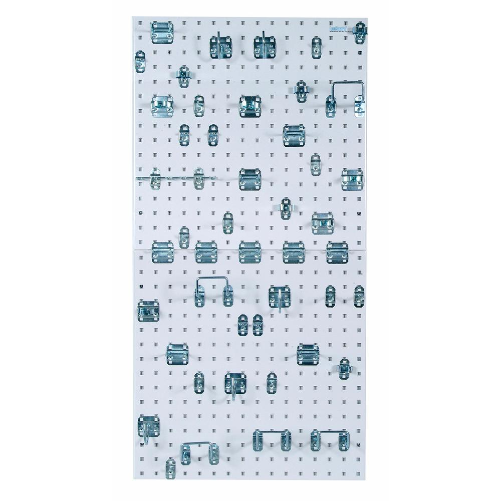 Triton Products LocBoard (2) 24 in. x 24 in. x 9/16 in. White Epoxy 18-Gauge Steel Square Hole Pegboards w/ 46 Piece LocHook Assortment