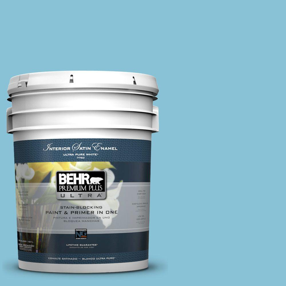 5 gal. #540D-4 Dreaming Blue Satin Enamel Interior Paint and Primer