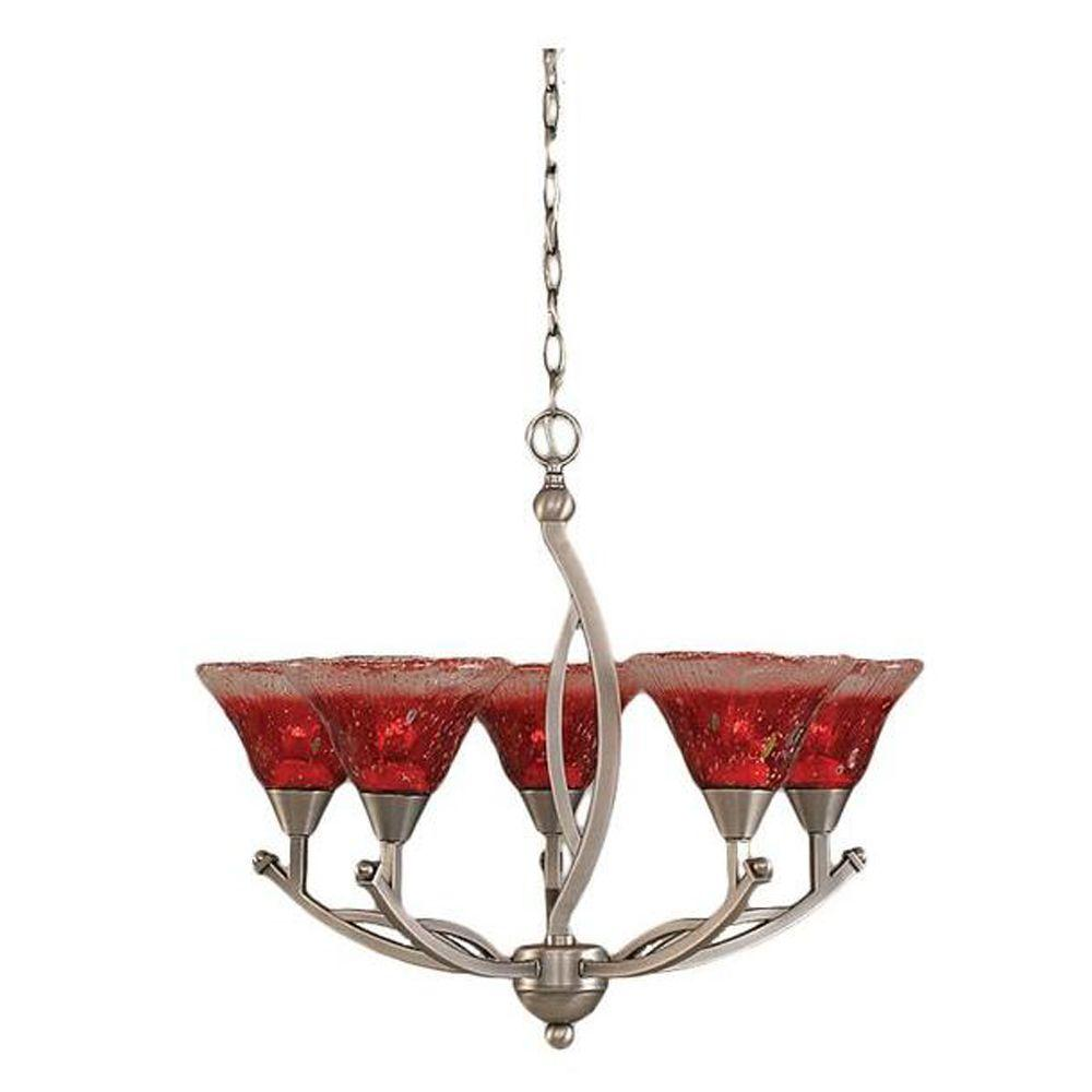 Filament Design Concord 5-Light Brushed Nickel Chandelier with Raspberry Crystal Glass Shade-CLI ...