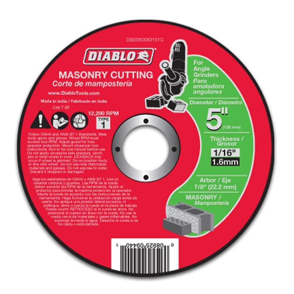 5 in. x 1/16 in. x 7/8 in. Masonry Cutting Disc