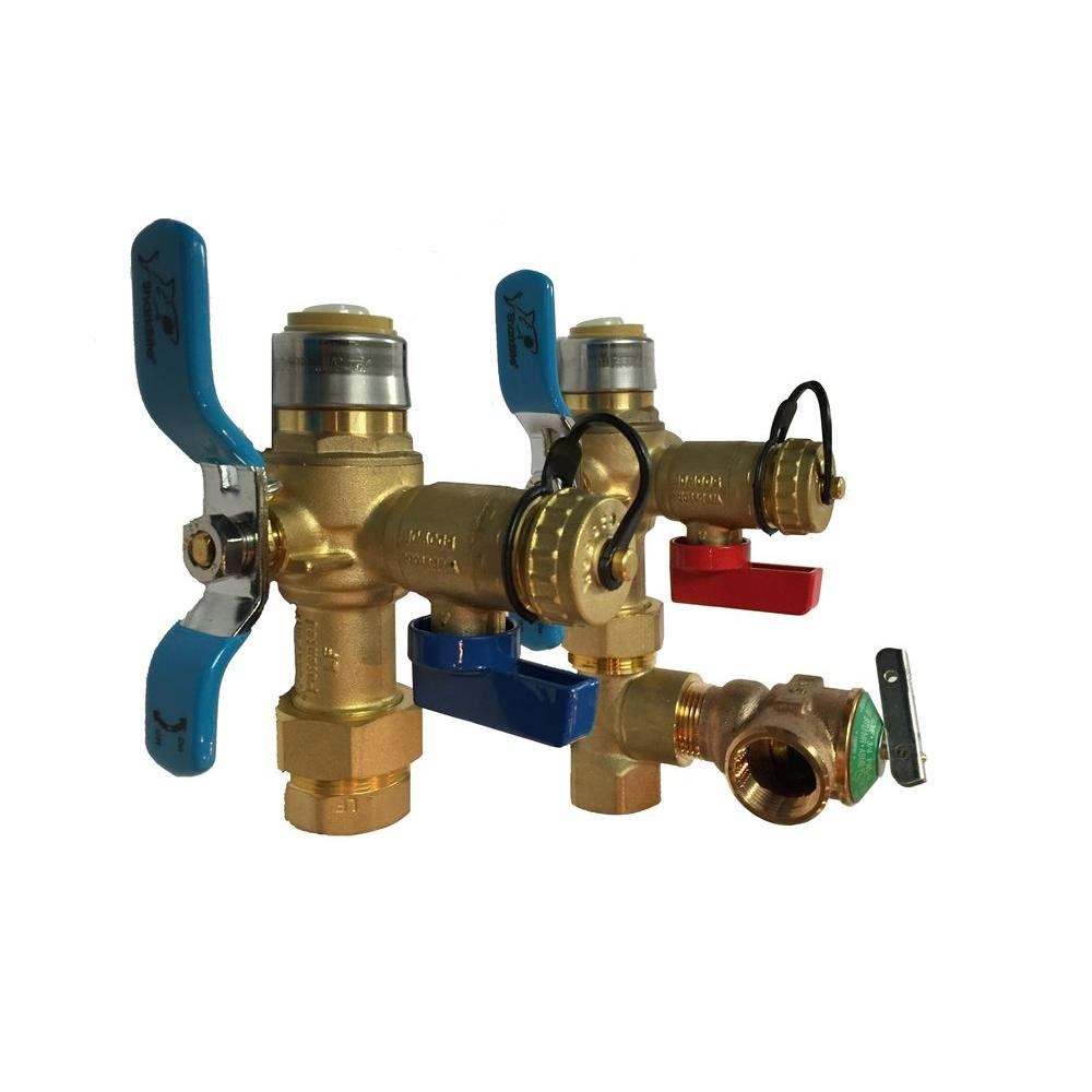 Sharkbite 3 4 in tankless water heater valve set with for Pex fittings for hot water heater