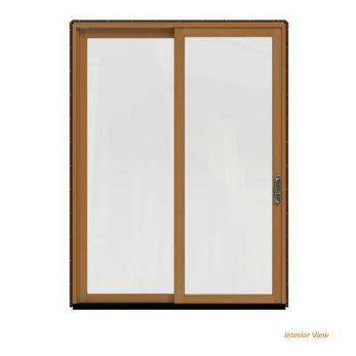 72 in. x 96 in. W-2500 Contemporary Brown Clad Wood Right-Hand Full Lite Sliding Patio Door w/Stained Interior
