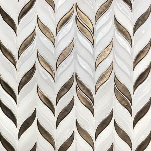 Oracle Sprig Metallic Copper 11-3/4 in. x 10-1/2 in. x 10mm Glazed Ceramic Mosaic Tile