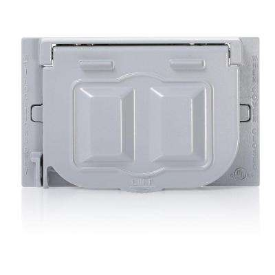 1-Gang Weather-Proof Cover with Metal Flat Lid, Gray
