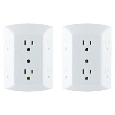 6-Outlet Grounded Outlet Tap with Adapter Spaced Outlets (2-Pack)