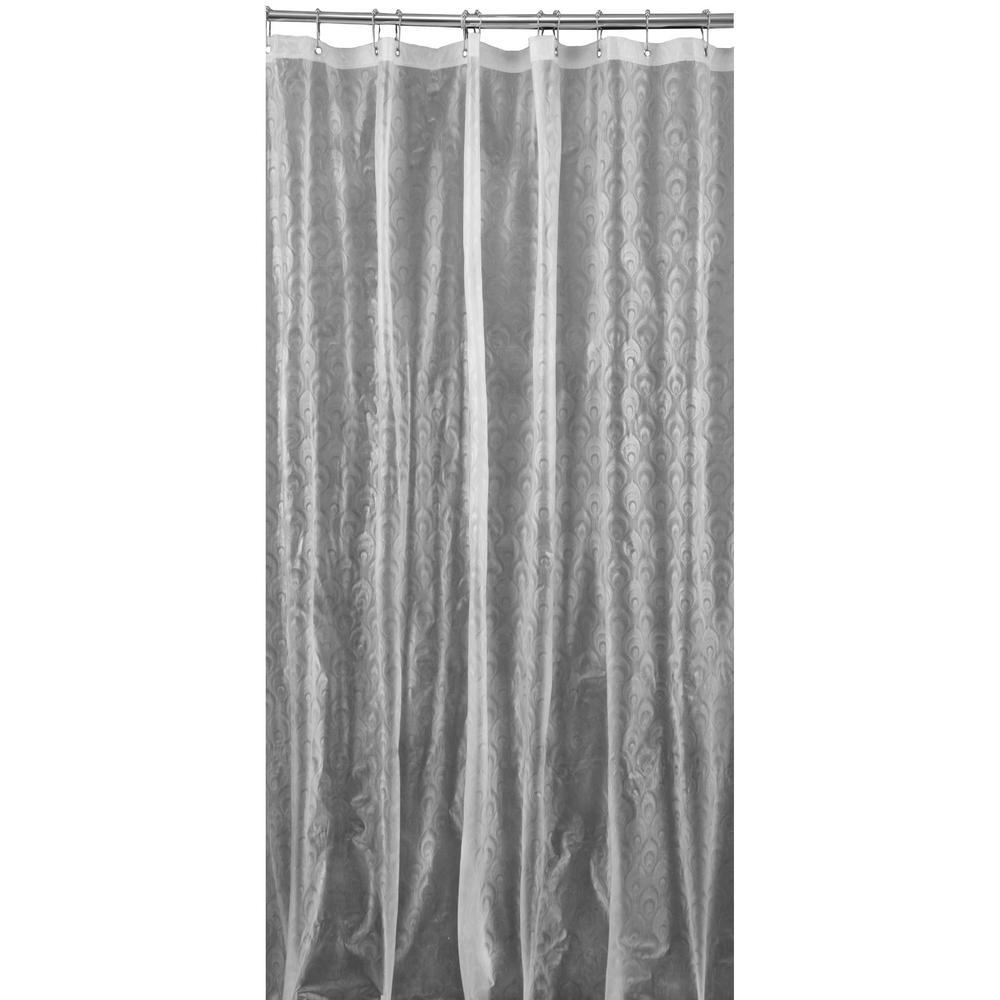 3D EVA 70 in. x 72 in. Peacock Design Clear Shower Curtain
