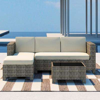 3-Piece Wicker Outdoor Sectional Set with Beige Cushions