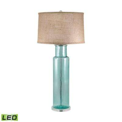30 in. Recycled Glass Blue Cylinder LED Table Lamp