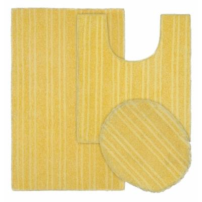 Grand Isle Rubber Ducky Yellow 21 in. x 34 in. Striped Nylon 3-Piece Bath Mat Set