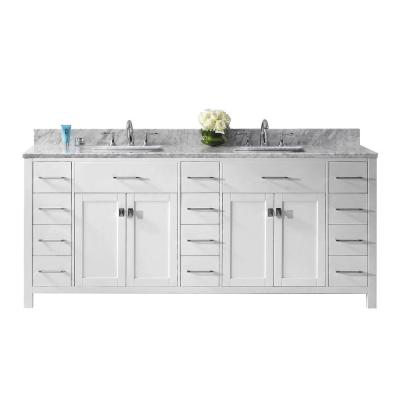 Caroline Parkway 79 in. W Bath Vanity in White with Marble Vanity Top in White with Square Basin