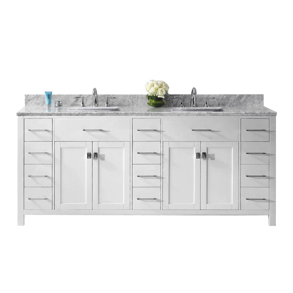 Virtu USA Caroline Parkway 79 in. W Bath Vanity in White with Marble Vanity Top in White with Square Basin