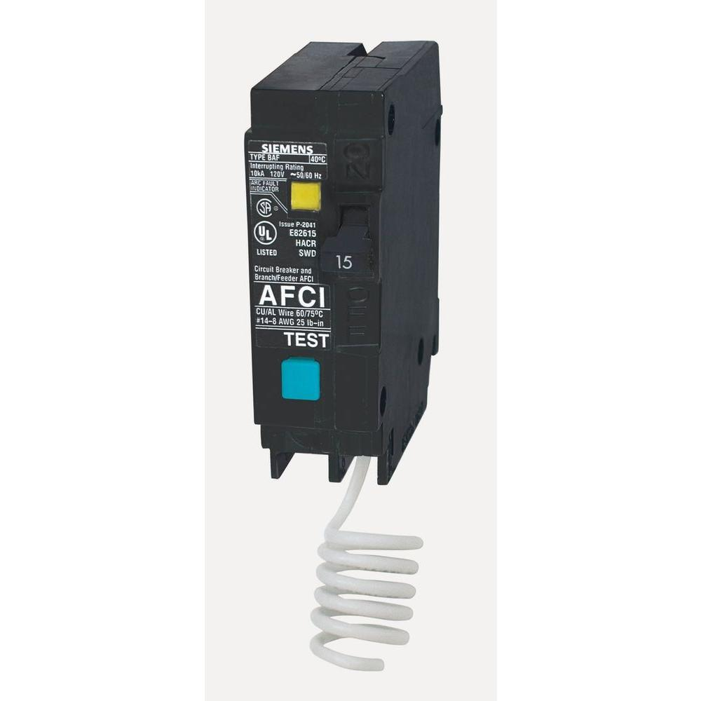Siemens 15 Amp Single-Pole Arc Fault Circuit Breaker