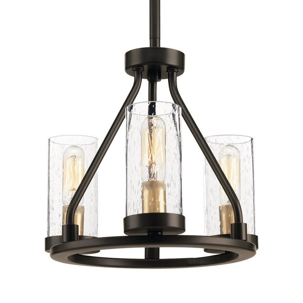 Progress Lighting Hartwell 3 Light Antique Bronze Mini Pendant With Clear Seeded Gl And Natural Br Accents