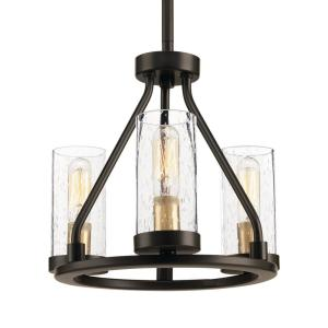 Hartwell 3-Light Antique Bronze Mini-Pendant with Clear Seeded Glass and Natural Brass Accents