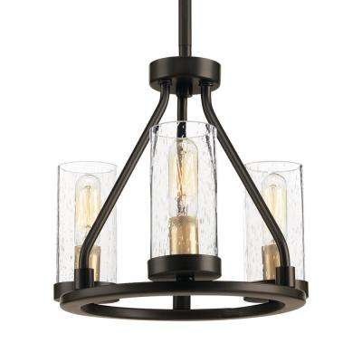 Hartwell 3 Light Antique Bronze Mini Pendant With Clear Seeded Gl And Natural Br