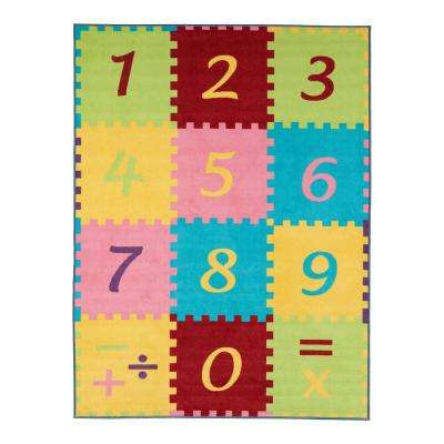 Children Garden's Collection Multi Color Numbers Math Design 5 ft. x 6 ft. 6 in. Non-Slip Kids Area Rug