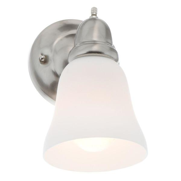 Hampton Bay 1 Light Satin Nickel Sconce With Frosted Opal Glass Shade X124501 The Home Depot