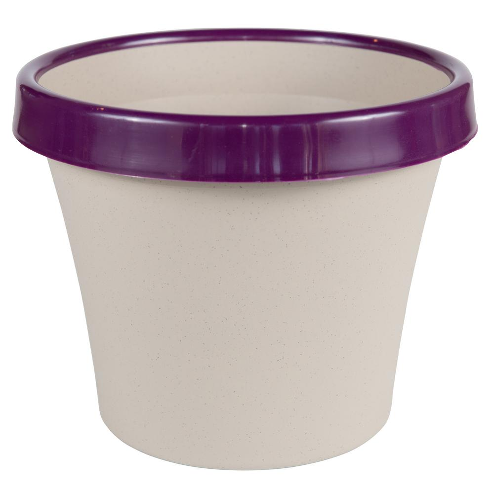 Terra 2 Tone 8 in. Taupe with Passion Fruit Plastic Planter