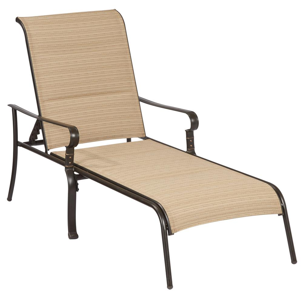 Hampton bay belleville padded sling outdoor chaise lounge for Build outdoor chaise lounge