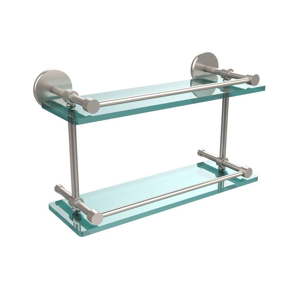 Allied Brass 16 in. L x 8 in. H x 5 in. W 2-Tier Clear Glass Bathroom Shelf with Gallery Rail in Satin Nickel