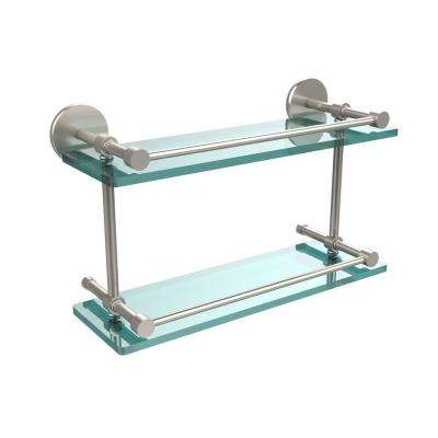 16 in. L x 8 in. H x 5 in. W 2-Tier Clear Glass Bathroom Shelf with Gallery Rail in Satin Nickel