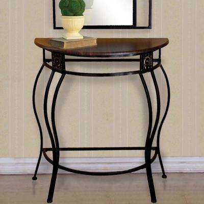 Home Source Sigurd Black Metal Console Table with Mahogany Table Top