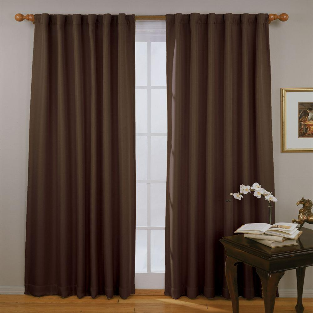Fresno Blackout Espresso Polyester Curtain Panel, 84 in. Length (Price Varies