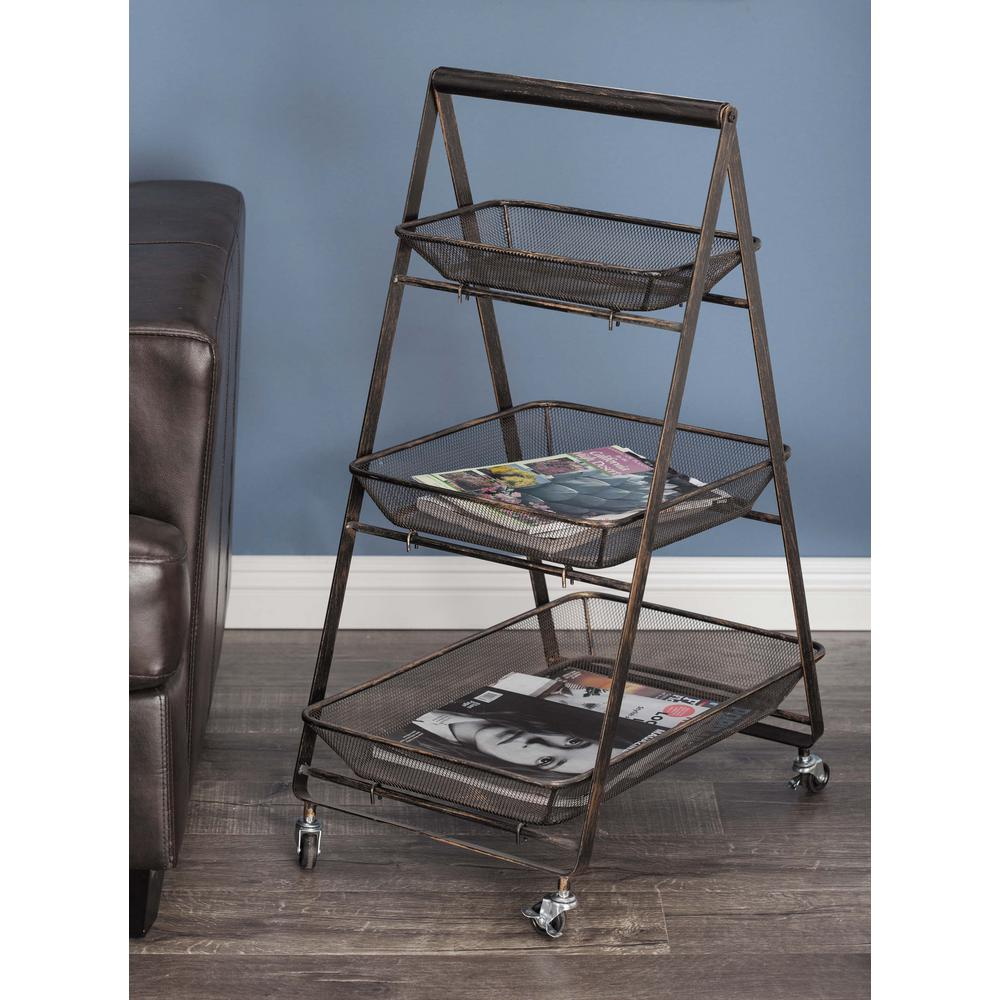 Go Home Black Industrial Kitchen Cart At Lowes Com: 3-Tier Metal And Wood Roll Cart In Black And Bronze-65587