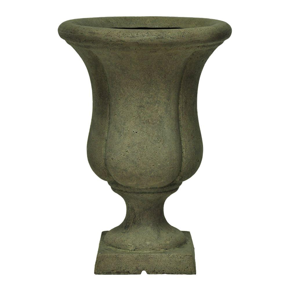 12 in. x 17 in. Cast Stone Liam Urn on Square
