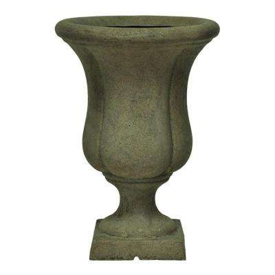12 in. x 17 in. Cast Stone Liam Urn on Square Base in Aged Granite