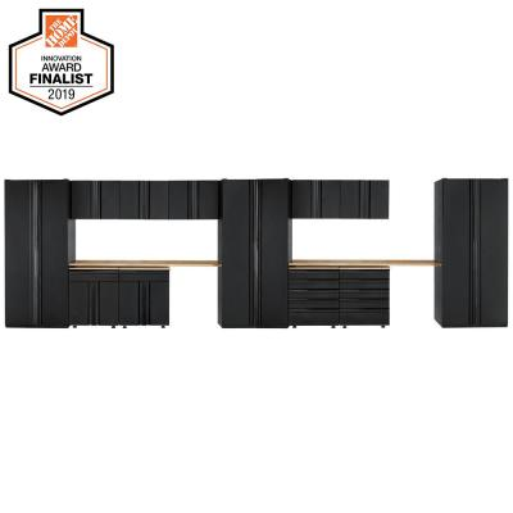 Heavy Duty Welded 276 in. W x 81 in. H x 24 in. D Steel Garage Cabinet Set in Black (14-Piece)