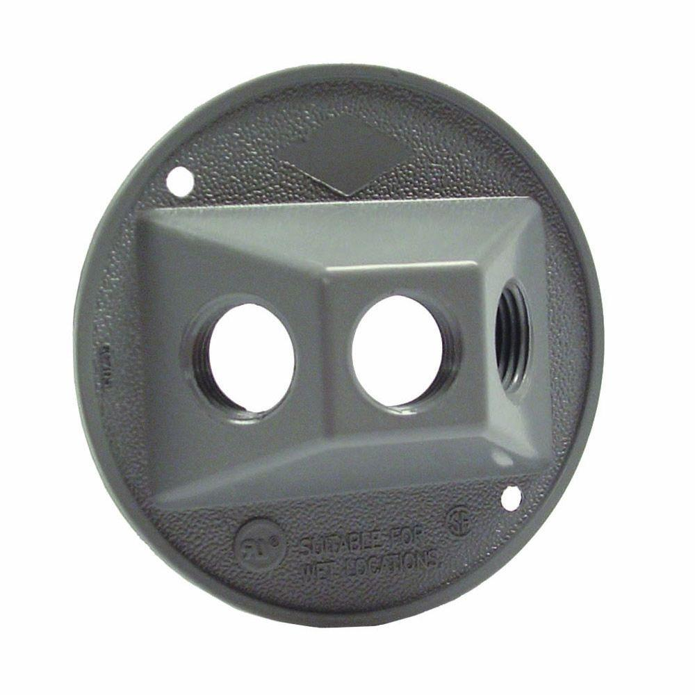 Gray Round Weatherproof Cluster Cover with Three 1/2 in. Threaded Outlets