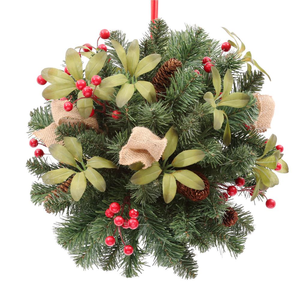 Home Accents Holiday 14 in. Unlit Artificial Kissing Ball with Red Berries and Pinecones