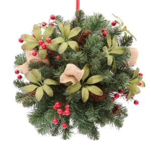 14 in. Unlit Artificial Kissing Ball with Red Berries and Pinecones