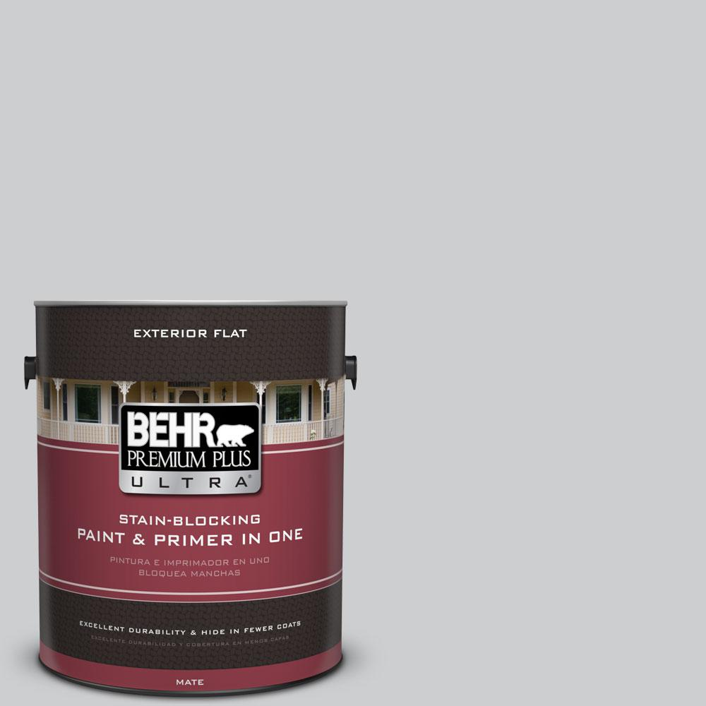 1 gal. #770E-2 Silver Screen Color Flat Exterior Paint