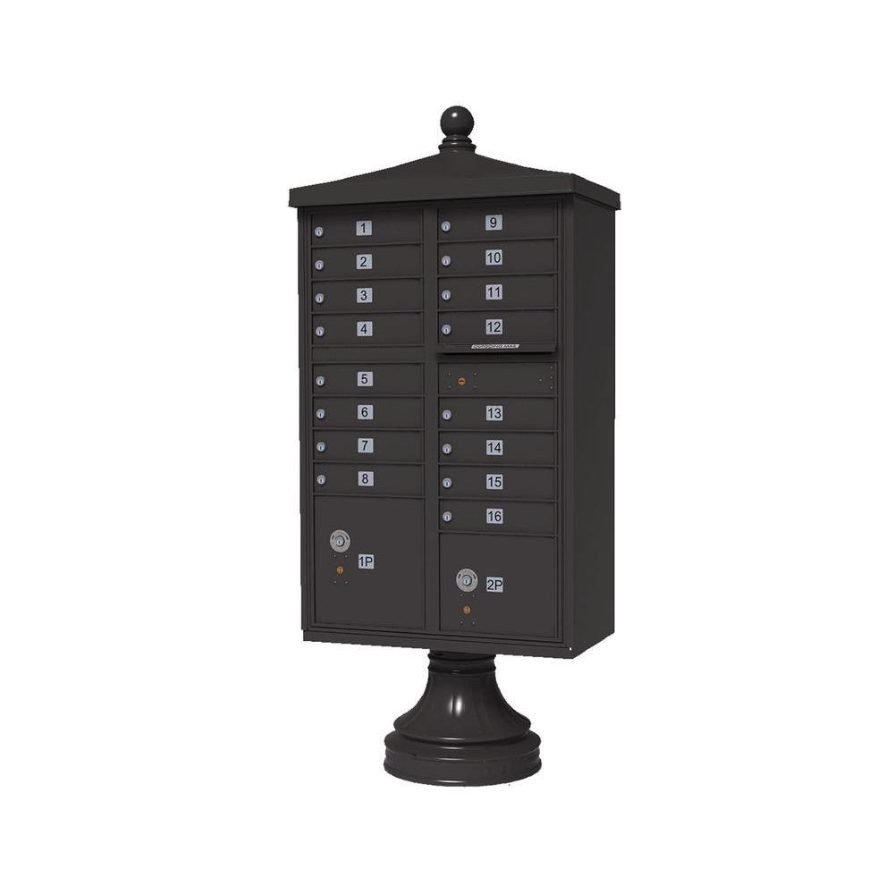 Vital 1570 16 Mailboxes 2 Parcel Lockers 1 Outgoing Pedestal Mount Cluster Box Unit