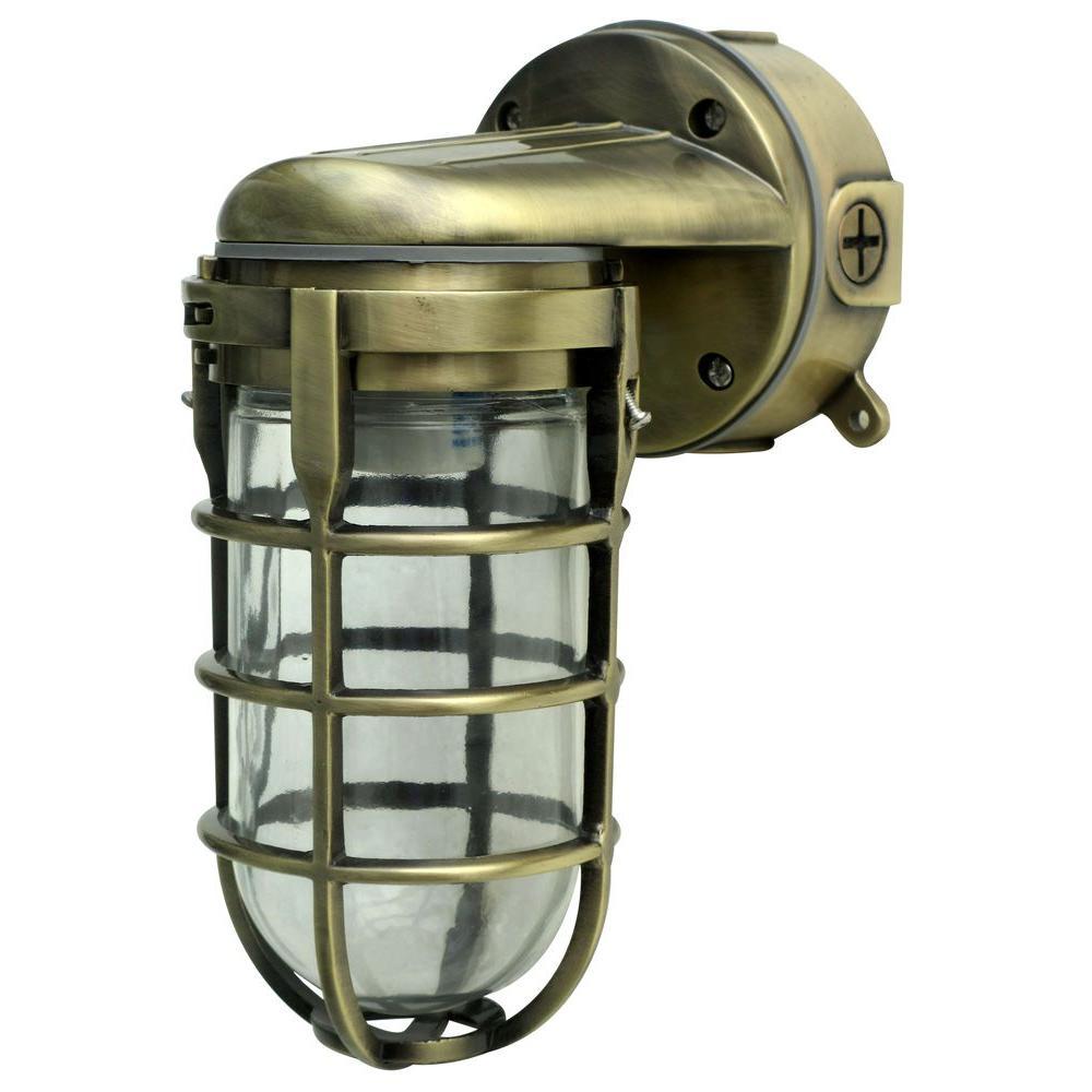 100-Watt Antique Brass Incandescent Industrial Flushmount Wall Light