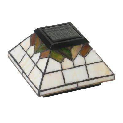 5 in. x 5 in./4 in. x 4 in./3.5 in. x 3.5 in. Stained Glass Outdoor Wellington Solar Post Cap (2-Pack)
