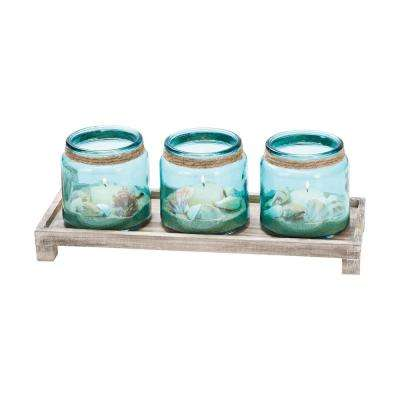 Waverly 5 in. x 14 in. Ashwood And Azure Glass Tray Candle Holder