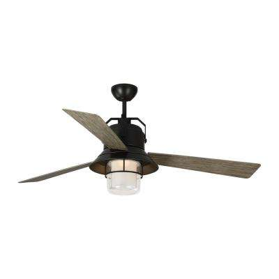 Boynton 54 in. Integrated LED Antique Bronze Ceiling Fan with Light Grey Weathered Oak Blades with Light Kit